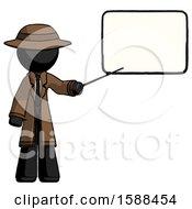Black Detective Man Giving Presentation In Front Of Dry Erase Board