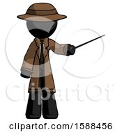 Black Detective Man Teacher Or Conductor With Stick Or Baton Directing