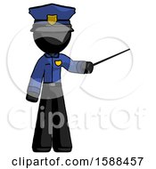Black Police Man Teacher Or Conductor With Stick Or Baton Directing
