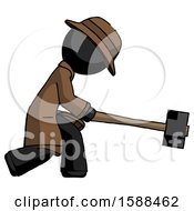 Black Detective Man Hitting With Sledgehammer Or Smashing Something
