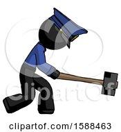 Black Police Man Hitting With Sledgehammer Or Smashing Something