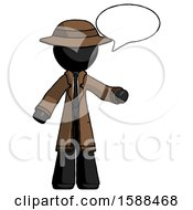 Black Detective Man With Word Bubble Talking Chat Icon