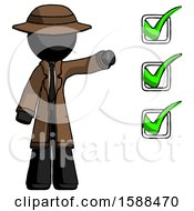 Black Detective Man Standing By List Of Checkmarks