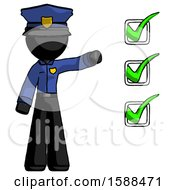 Black Police Man Standing By List Of Checkmarks
