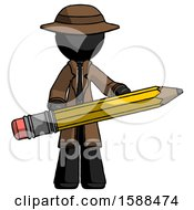 Black Detective Man Writer Or Blogger Holding Large Pencil