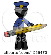 Black Police Man Writer Or Blogger Holding Large Pencil
