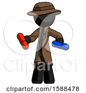 Black Detective Man Red Pill Or Blue Pill Concept