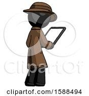 Black Detective Man Looking At Tablet Device Computer Facing Away