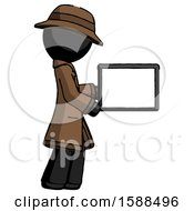 Black Detective Man Show Tablet Device Computer To Viewer Blank Area