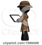 Black Detective Man Looking At Tablet Device Computer With Back To Viewer