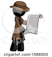 Black Detective Man Holding Blueprints Or Scroll