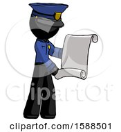Black Police Man Holding Blueprints Or Scroll