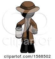 Black Detective Man Begger Holding Can Begging Or Asking For Charity
