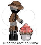 Black Detective Man With Giant Cupcake Dessert