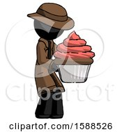 Black Detective Man Holding Large Cupcake Ready To Eat Or Serve