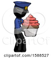 Black Police Man Holding Large Cupcake Ready To Eat Or Serve