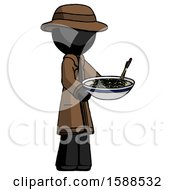 Black Detective Man Holding Noodles Offering To Viewer