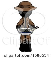 Black Detective Man Serving Or Presenting Noodles