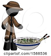 Black Detective Man And Noodle Bowl Giant Soup Restaraunt Concept