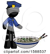 Black Police Man And Noodle Bowl Giant Soup Restaraunt Concept