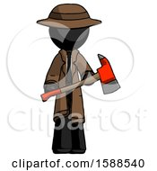 Black Detective Man Holding Red Fire Fighters Ax
