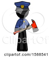 Black Police Man Holding Red Fire Fighters Ax