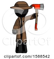 Black Detective Man Holding Up Red Firefighters Ax