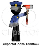 Black Police Man Holding Up Red Firefighters Ax