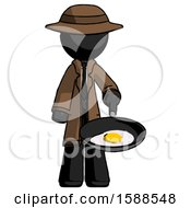 Black Detective Man Frying Egg In Pan Or Wok