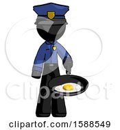Poster, Art Print Of Black Police Man Frying Egg In Pan Or Wok