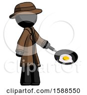 Black Detective Man Frying Egg In Pan Or Wok Facing Right
