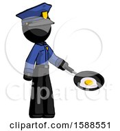 Poster, Art Print Of Black Police Man Frying Egg In Pan Or Wok Facing Right