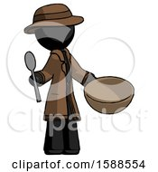 Black Detective Man With Empty Bowl And Spoon Ready To Make Something