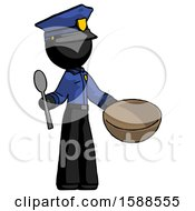 Black Police Man With Empty Bowl And Spoon Ready To Make Something