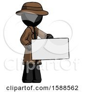 Black Detective Man Presenting Large Envelope