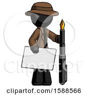 Black Detective Man Holding Large Envelope And Calligraphy Pen