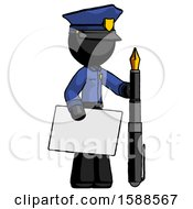 Black Police Man Holding Large Envelope And Calligraphy Pen