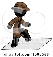 Black Detective Man On Postage Envelope Surfing