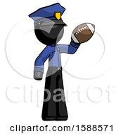 Black Police Man Holding Football Up