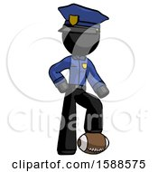 Black Police Man Standing With Foot On Football