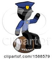 Black Police Man Sitting On Giant Football