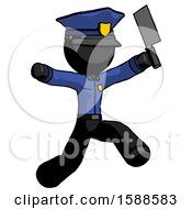Black Police Man Psycho Running With Meat Cleaver