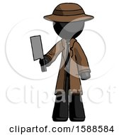 Black Detective Man Holding Meat Cleaver
