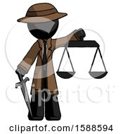 Black Detective Man Justice Concept With Scales And Sword Justicia Derived