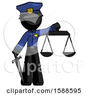Black Police Man Justice Concept With Scales And Sword Justicia Derived