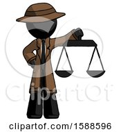 Black Detective Man Holding Scales Of Justice