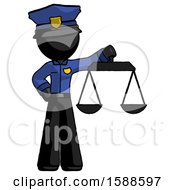 Black Police Man Holding Scales Of Justice
