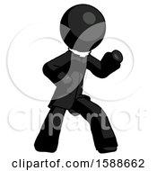 Black Clergy Man Martial Arts Defense Pose Right