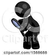 Black Clergy Man Inspecting With Large Magnifying Glass Left