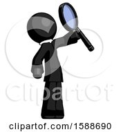 Black Clergy Man Inspecting With Large Magnifying Glass Facing Up